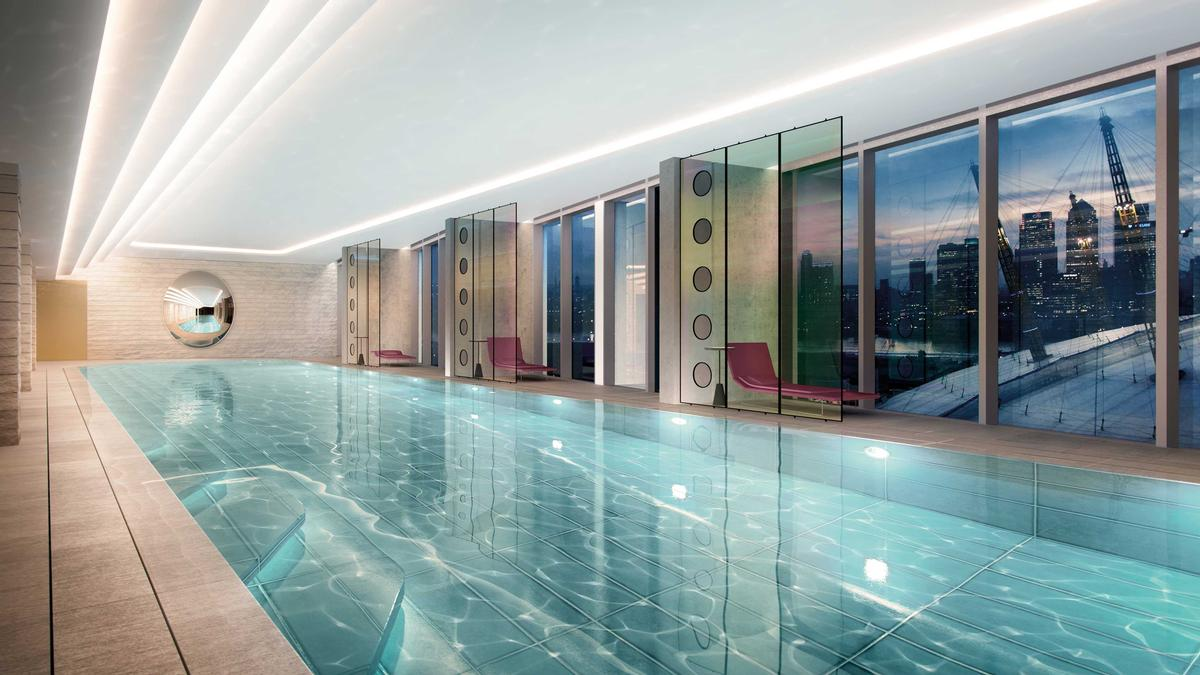 Renew features a steam room, pool, two gyms, and a terrace for residents who want to train in the open air. / Courtesy of Knight Dragon