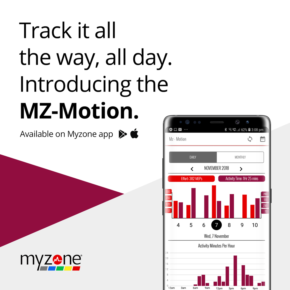 Track it all the way, all day. Introducing the MZ-Motion.