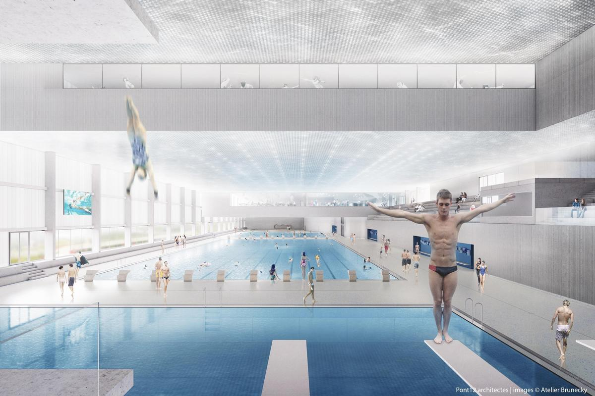 The complex will feature an array of facilities including an Olympic-sized pool, ice rinks, and dining areas. / Rendering by Atelier Brunecky