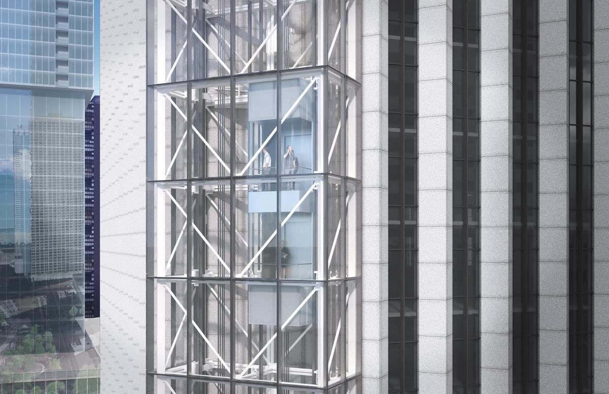The attraction's elevator will transport guests to the building's top floor in under a minute. / Courtesy of SCB