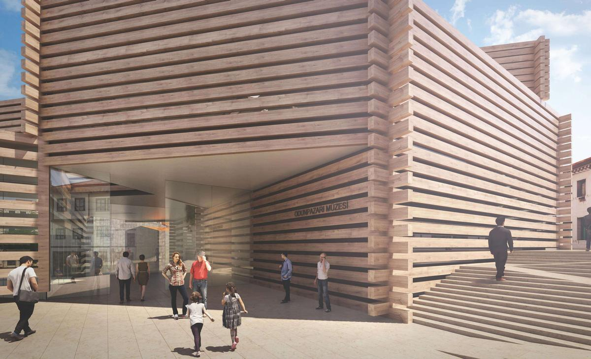 The structure's design takes cues from Eskisehir's Ottomman-era buildings. / Courtesy of Kengo Kuma
