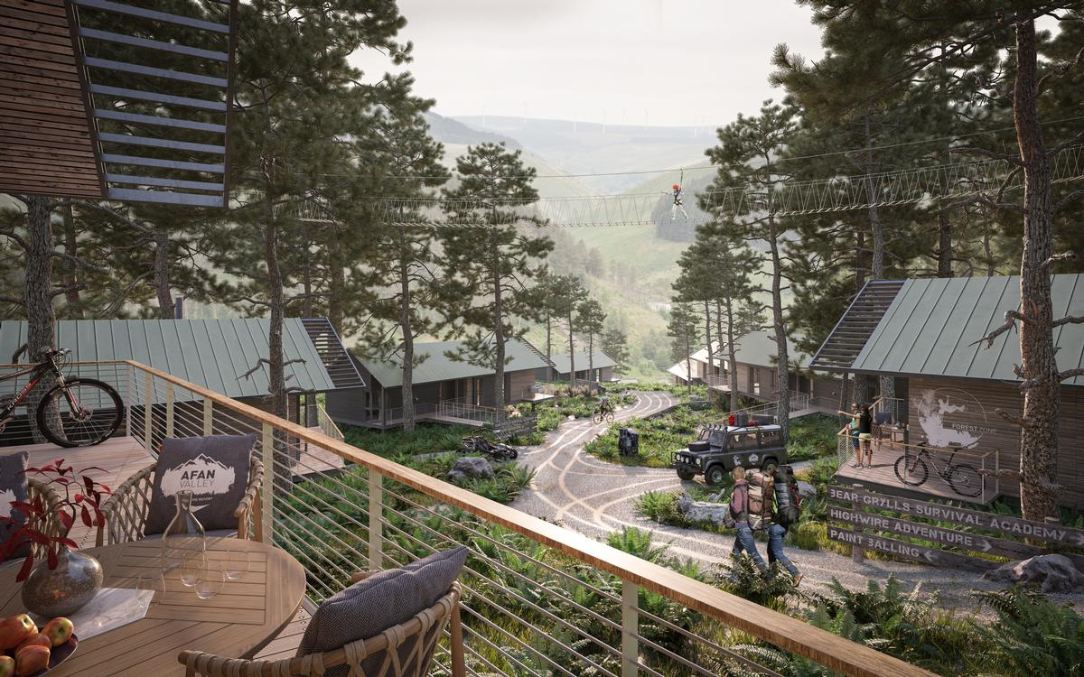 The attraction will feature a plethora of leisure and sports facilities, including a survival academy created by British explorer and ex-special forces serviceman Bear Grylls. / Courtesy of Afan Valley Adventure Resort