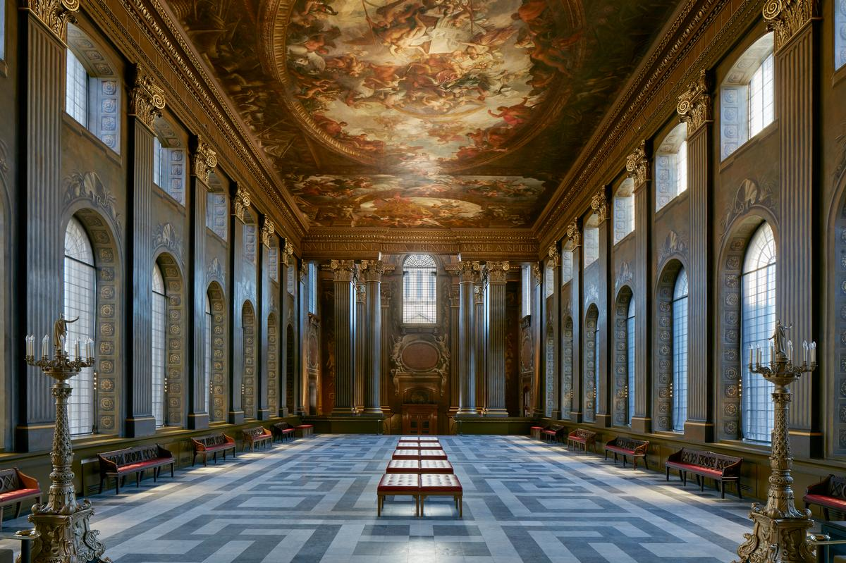 Painted Hall was created in the 18th century by Sir Christopher Wren and Sir James Thornhill. / Courtesy of James Brittain
