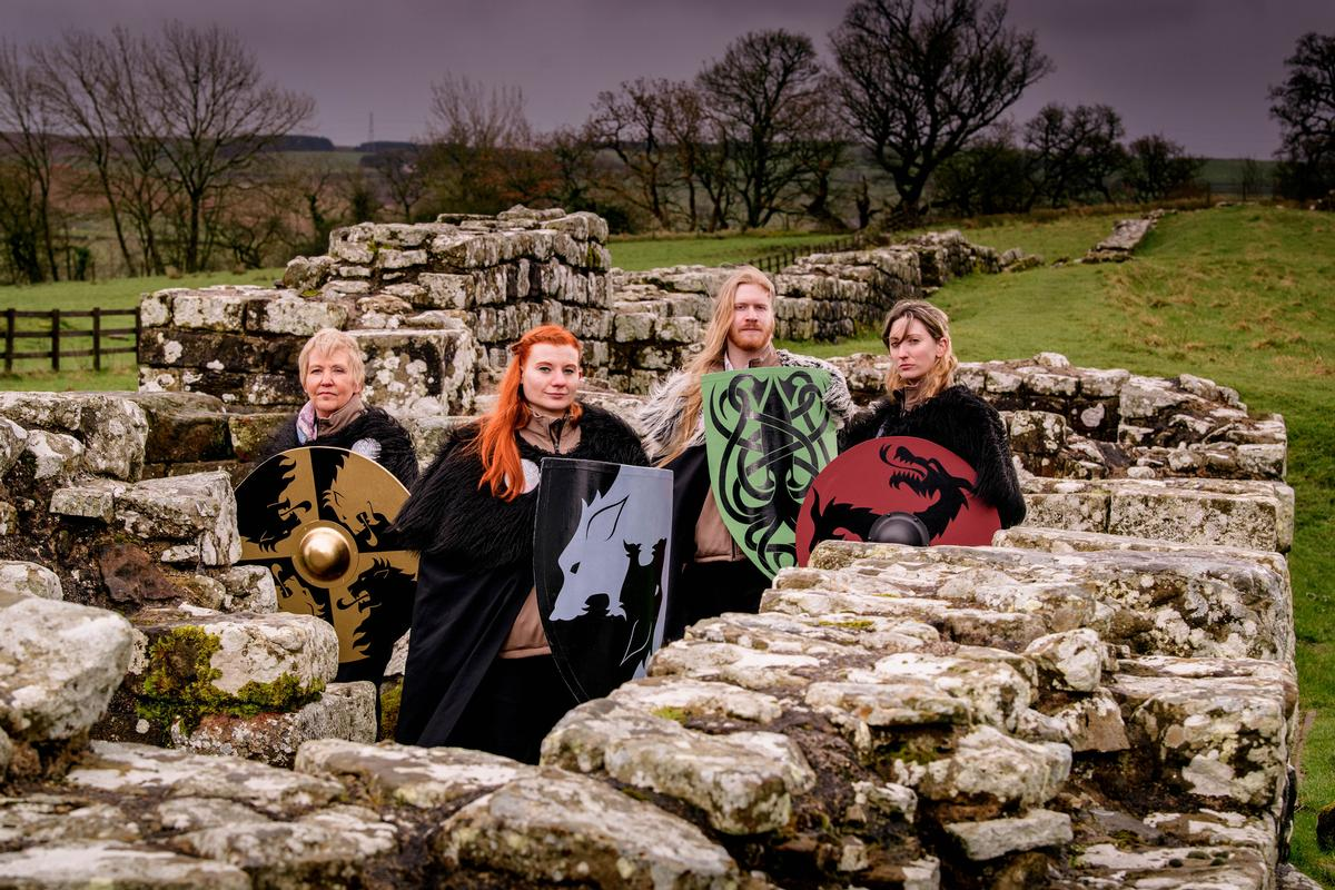 The not entirely fearsome looking Watchers will answer questions for visitors to Hadrian's Wall / English Heritage