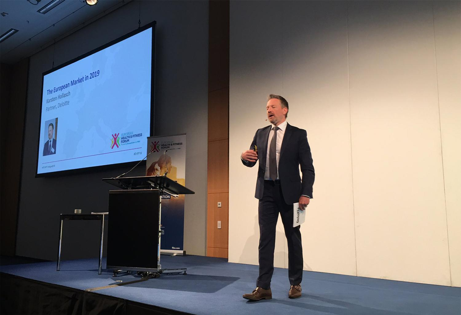 Deloitte's Karsten Hollasch presented the findings of the report at the European Health and Fitness Forum (EHFF)