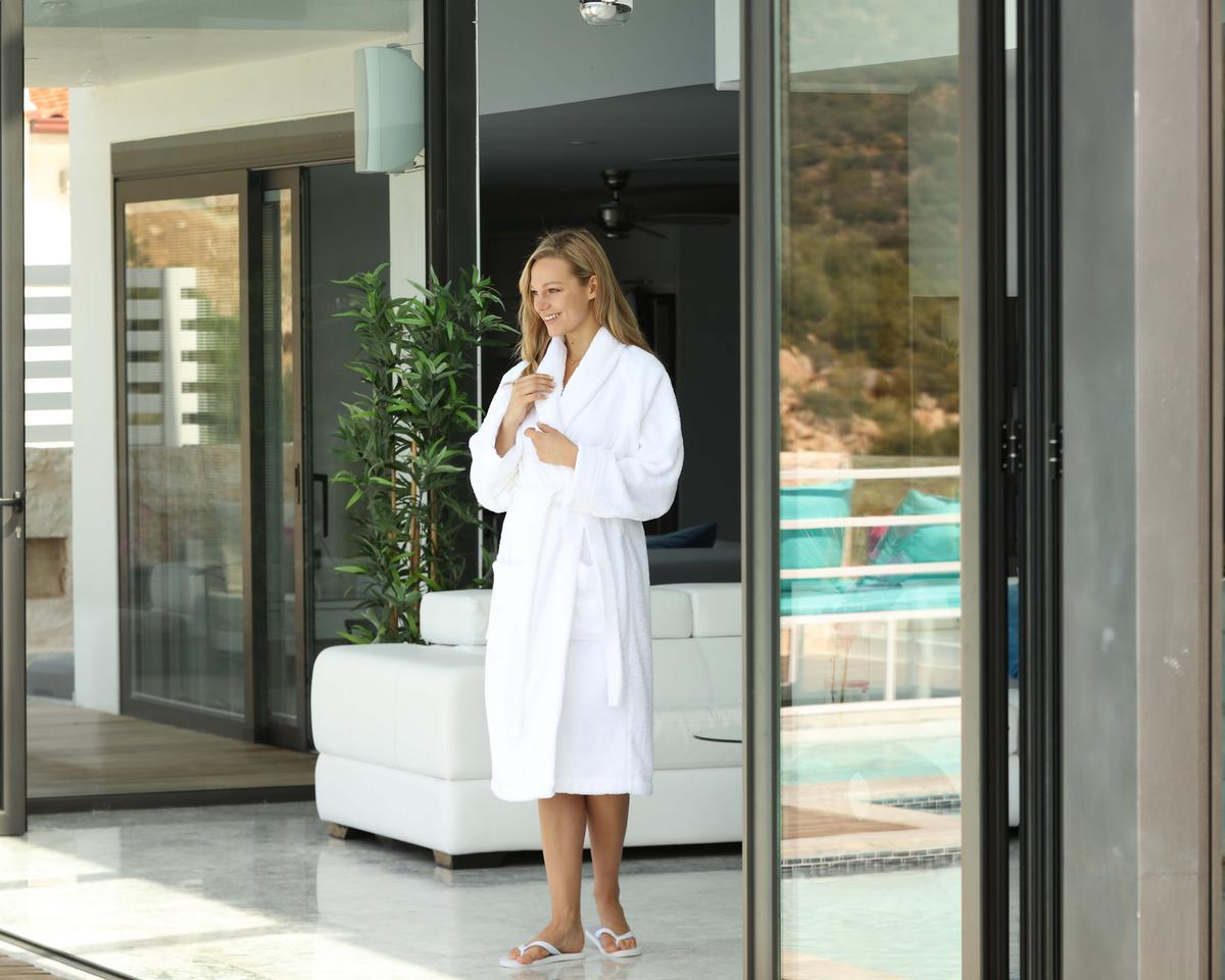 The new robe features a bamboo-cotton blend making it eco-friendly and hypoallergenic