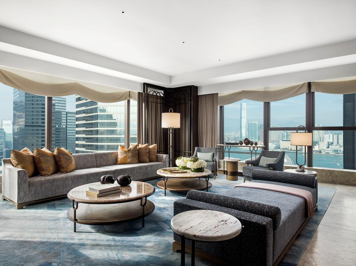 The Presidential Suite features floor-to-ceiling windows and spectacular views of the harbour. / Courtesy of St. Regis Hotels and Resorts