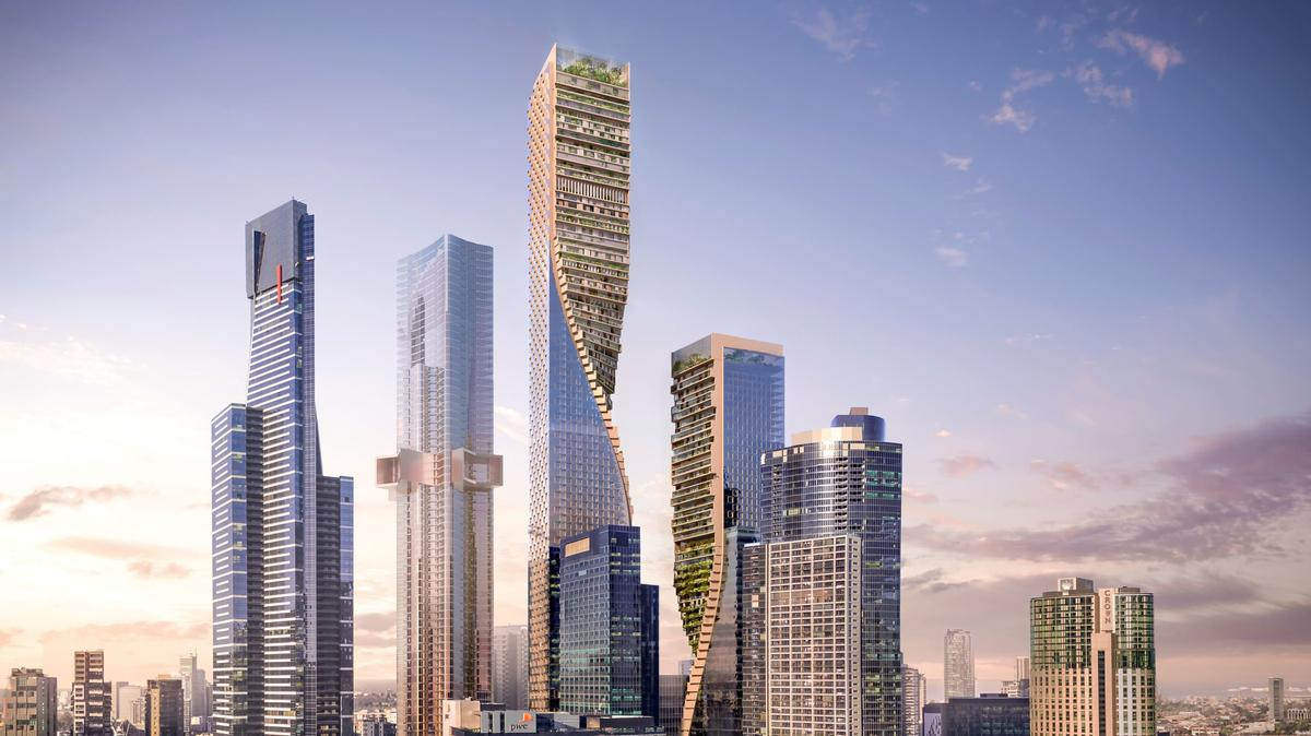 The Green Spine – expected to become one of Australia's most eye-catching buildings – comprises two twisting towers and exhibits, according to Bos, 'contrapposto'. / Courtesy of UNStudio