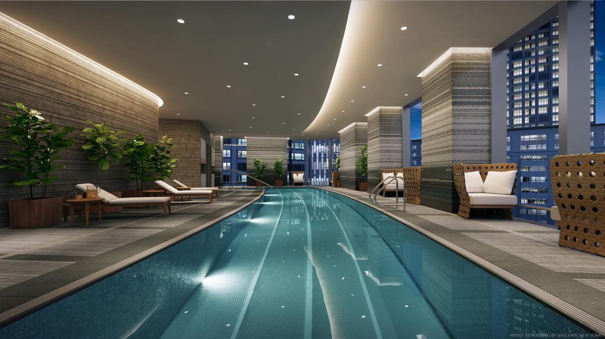 The pièce de résistance of the wellness floor is the 64-foot (20-metre) lap pool that arcs in concert with the building's curved windows