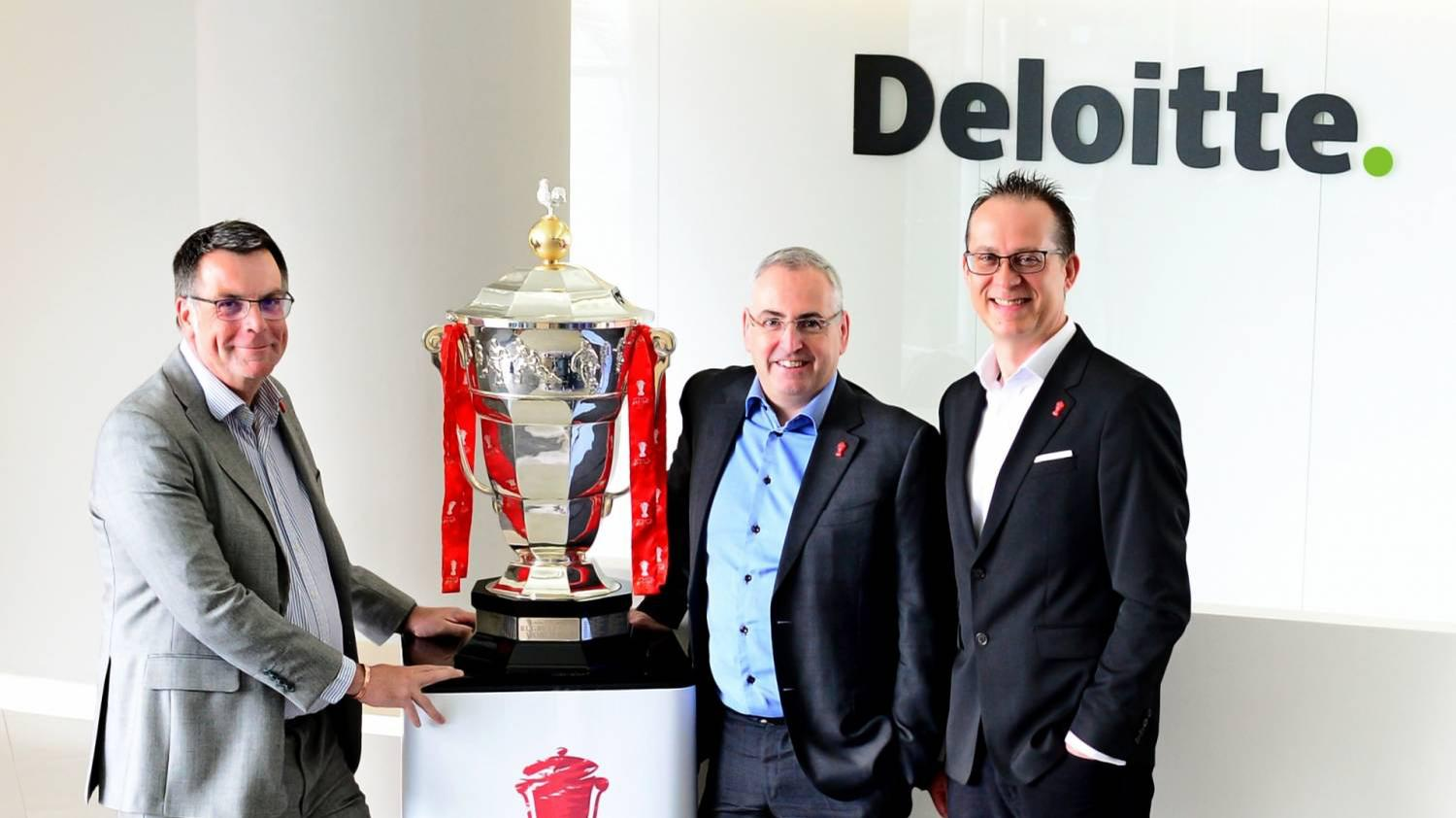 Deloitte's Stuart Cottee (left) and Sean Beech (middle) with RLWC 2021 CEO Jon Dutton (right)