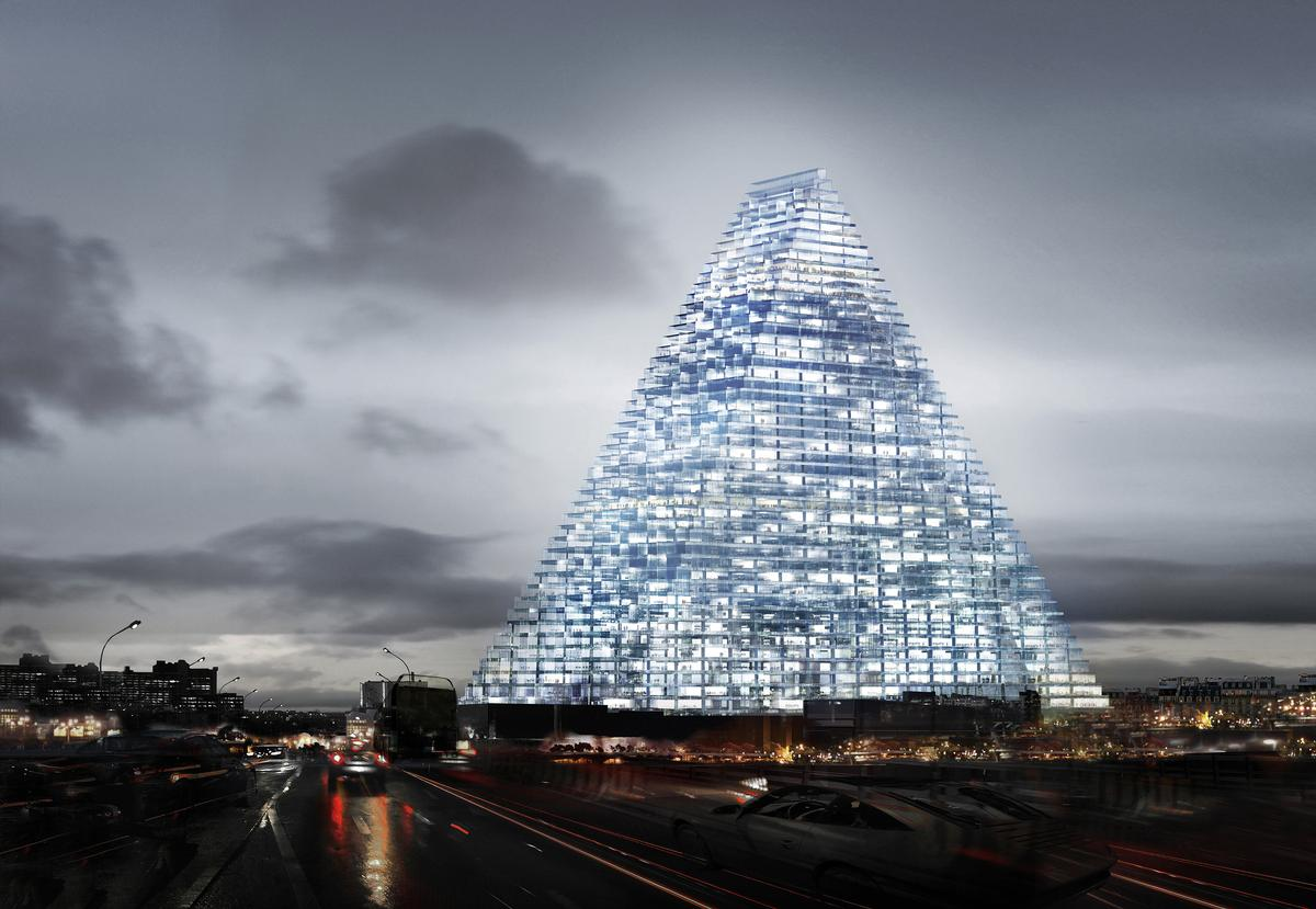The Triangle Tower will house a 120-key hotel, restaurants, a cultural centre, and an auditorium. / Courtesy of Herzog & de Meuron