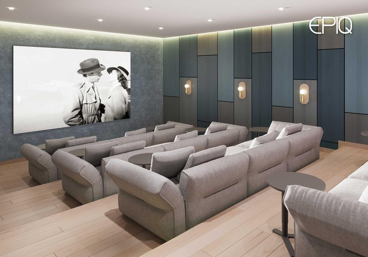 Additionally, residents will have access to the complex's on-site cinema, music room, and nursery. / Image via EPIQ