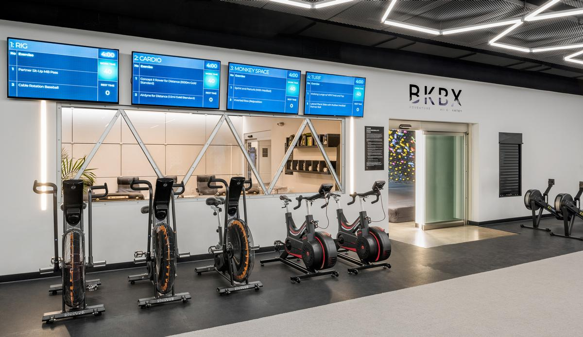 BKBX is also fitted with exercise bikes, a TRX system, monkey bars, and free weights. / Courtesy of Arrowstreet
