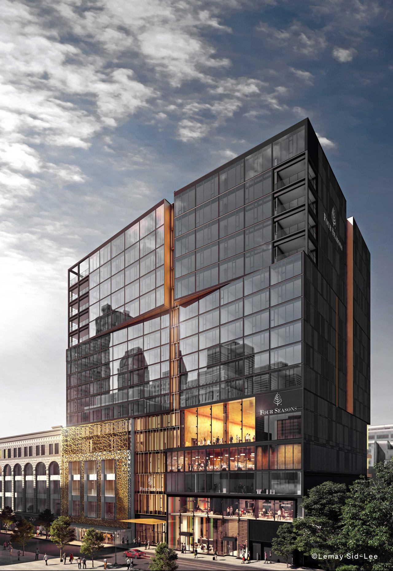 The 169-bedroom Four Seasons, swathed in black with metallic ribbons, was designed by Lemay and Sid Lee Architecture