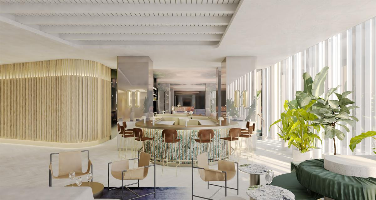 Hotel interiors including guest rooms, spa, Palais des Possibles ballroom and public areas are designed by Paris-based firm Gilles & Boissier in collaboration with Montreal-based architect and designer Philip Hazan