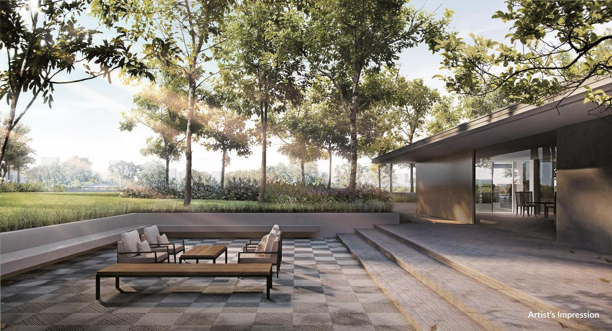 Residents will have access to a private lake, nature paths, and a number of outdoor/indoor meditation areas. / Courtesy of the Woodleigh Residences