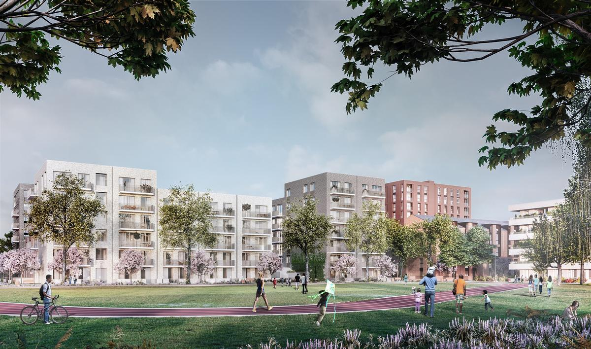 The masterplan for the village, which received planning approval in 2018, was designed by a team led by Glancy Nicholls Architects and Glenn Howells Architects