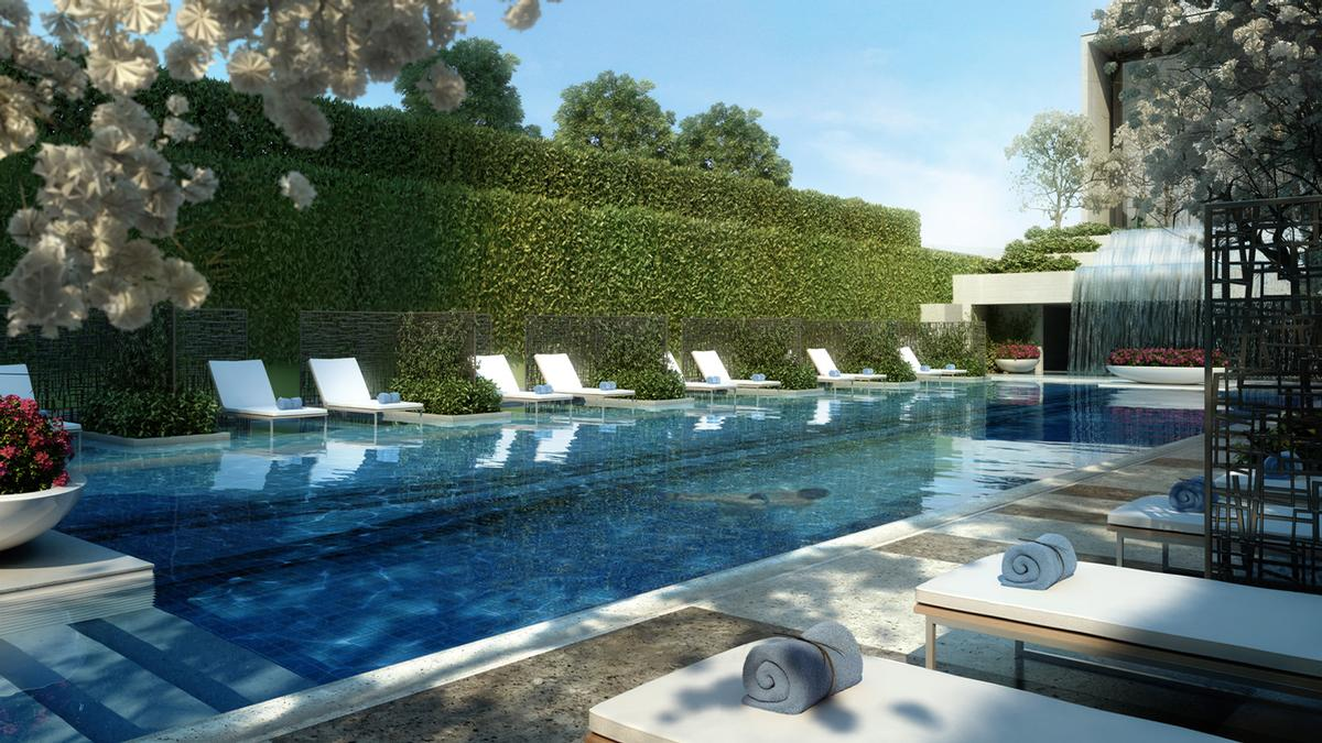 Set on the lower level alongside the pool, the spa includes a design aesthetic with light colours and a cool, aqua colour scheme