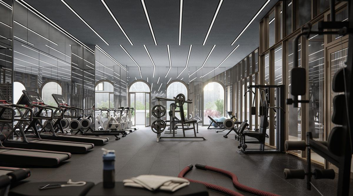 The 130 William residences will also be home to a gym and yoga room. / Rendering by Binyan Studios