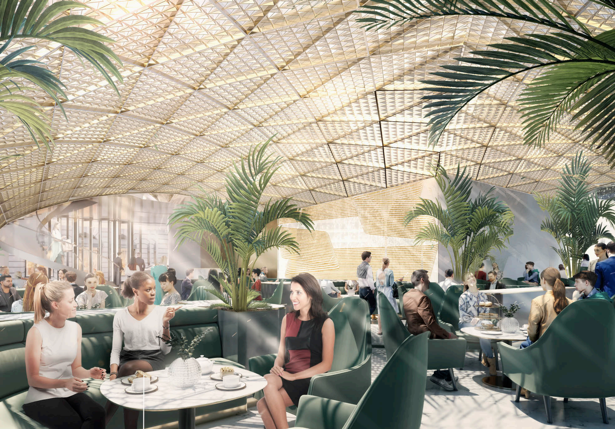 The hotel will feature a lower floor fine-dining restaurant and a rooftop bar / Foster + Partners