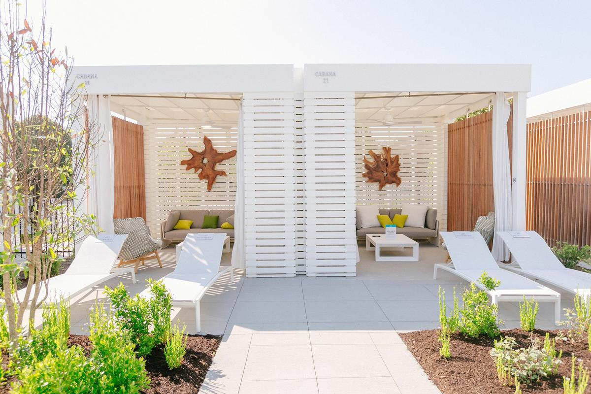 High-end cabanas have been built as part of the experience