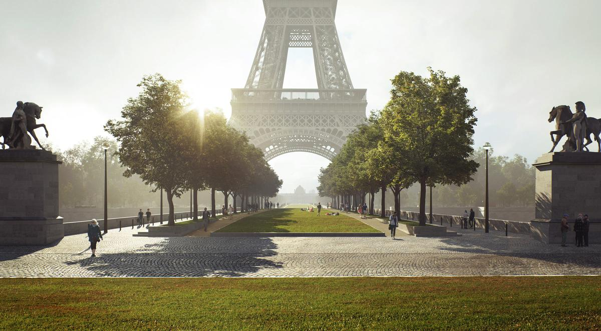 The Eiffel Tower site is expected to be completed in 2023. / Courtesy of Gustafson Porter + Bowman