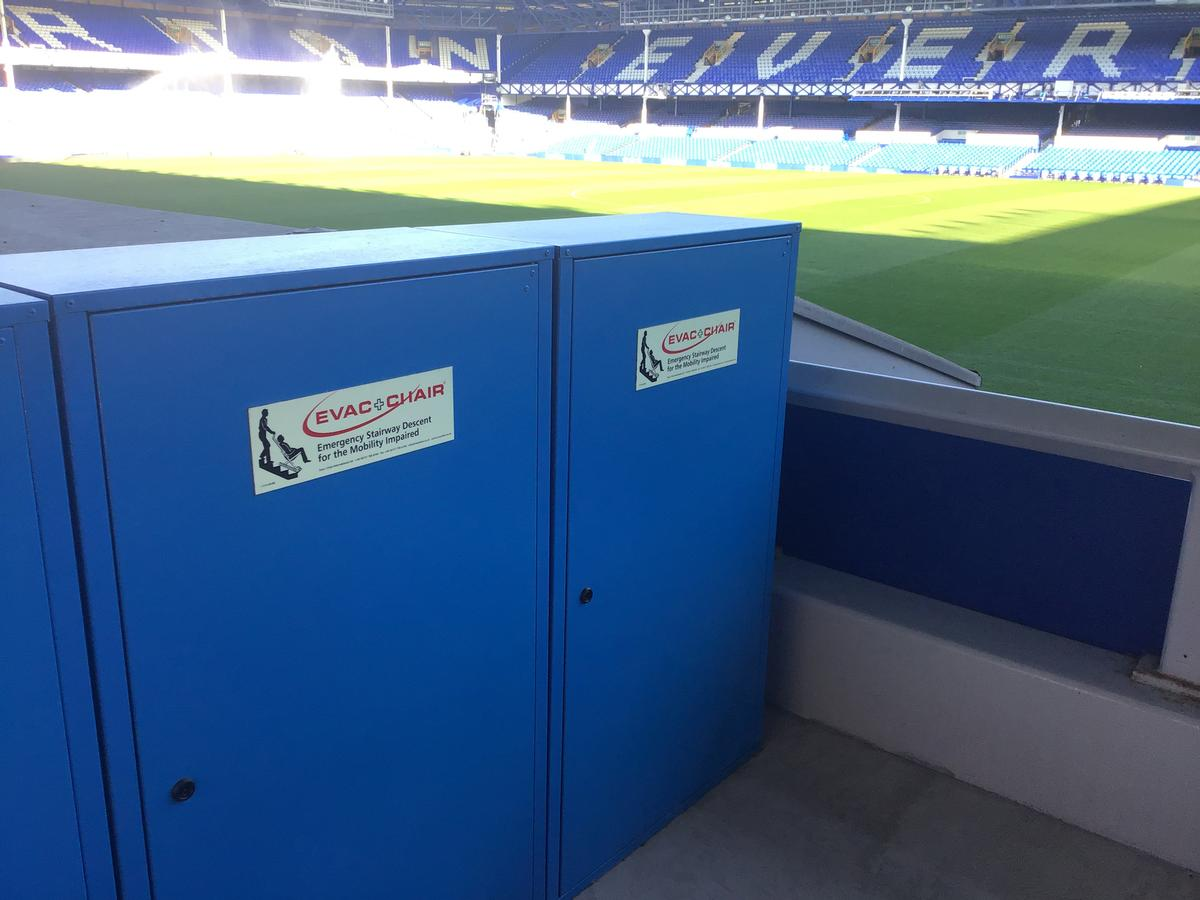Everton FC installed four 3000h Evac+Chair evacuation chairs