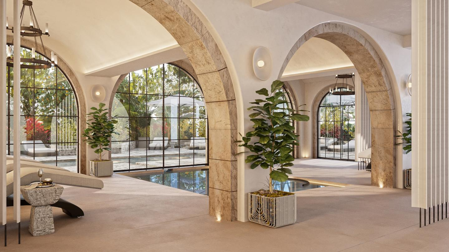 The vitality pool is both indoor and outdoor and the garden space features a plunge pool with relaxation deck and a pergola adorned with plants