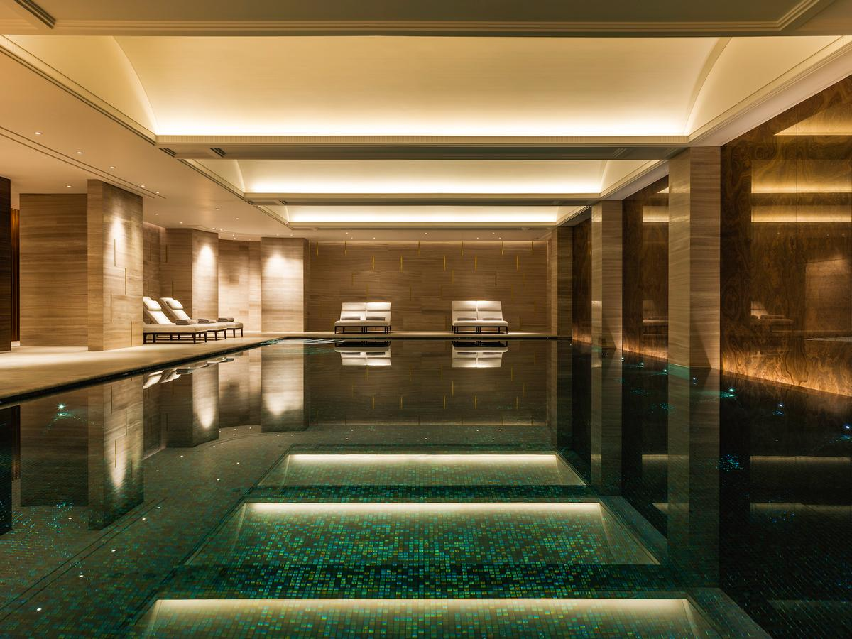 The Langley Spa combines striking design elements with world-class facilities, including a private VIP suite, vitality pools, hammams, juniper-wood sauna with pink Himalayan salt walls, amethyst steam room and 16-metre marble-lined indoor swimming pool