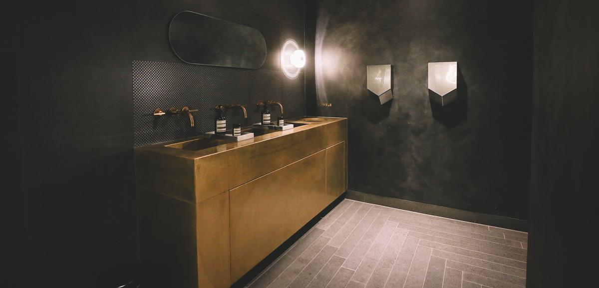 Fittings by Tom Dixon feature as part of The Fore's decor / Copper and Cope