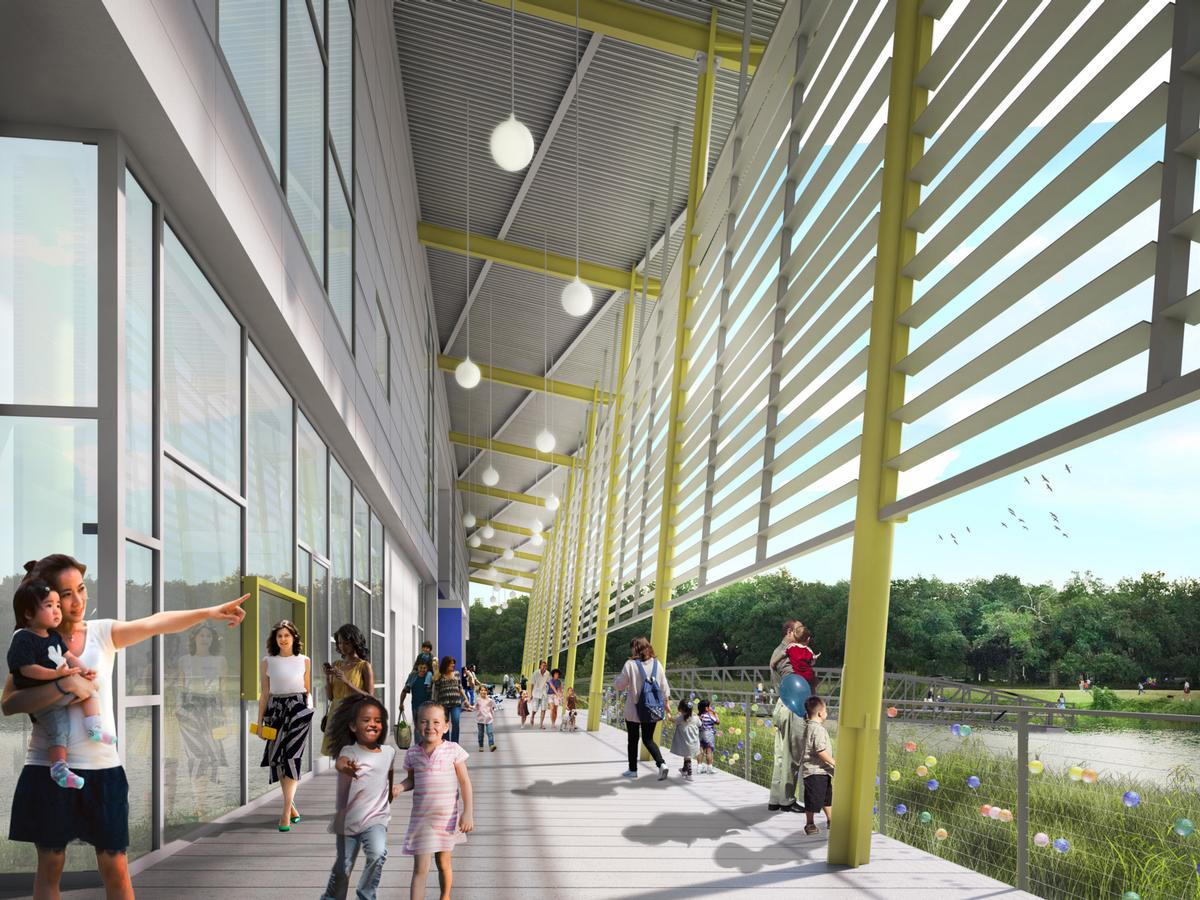 Architectural rendering of the front porch at the new Louisiana Children's Museum / Mithūn