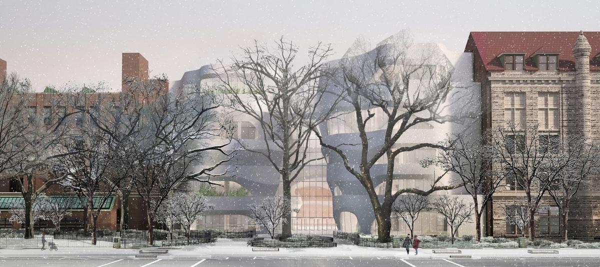 Milford pink granite is planned both for the new facade facing Columbus Avenue, and the museum's opposing facade along Central Park West. / Studio Gang