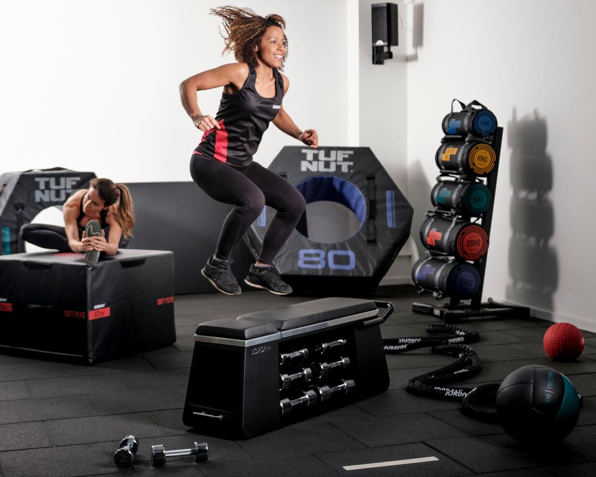 The HIIT Bench acts as a functional workout training station, weight bench, plyo box and storage unit