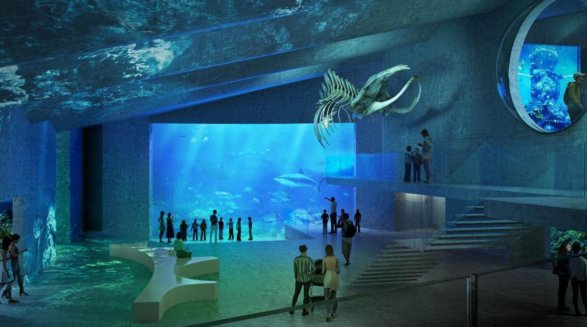 The aquarium will lead visitors underground through greenhouses and other attractions to a large shark tank / Pumar Architekten
