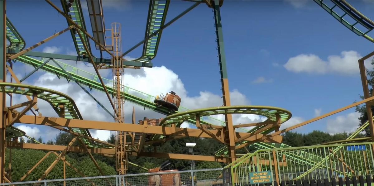 The child fell from the Twister coaster (pictured), a spinning steel ride capable of reaching a speed of 29 mph