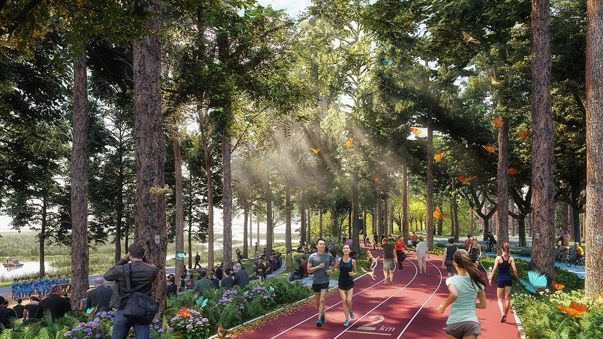 The expansive metropolis, which will be situated amidst forests and wetlands, will include a variety of parks, trails, and sports facilities / SOM/TLS