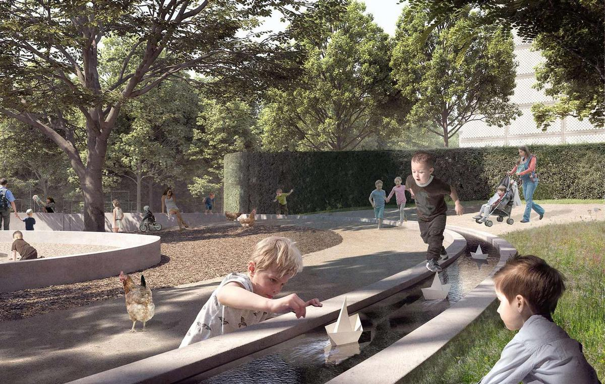 The reshaped public realm will feature new footpaths, artificial ponds, and an expansive amphitheatre / Henning Larsen