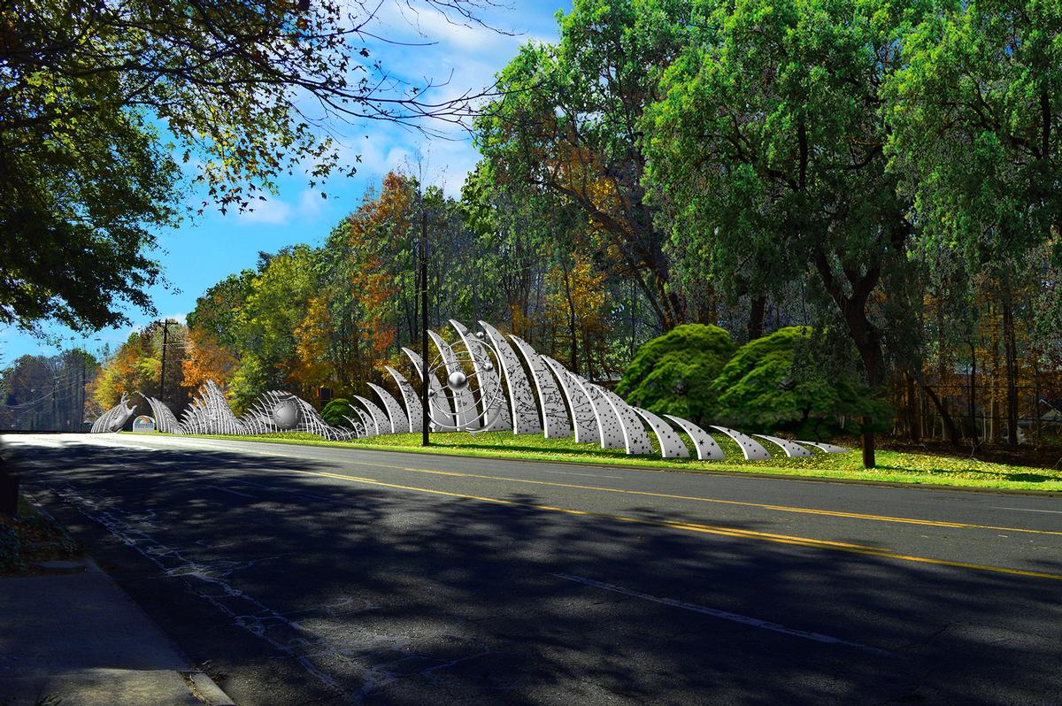 The design for the new science-inspired sculpture on the approach to GSC