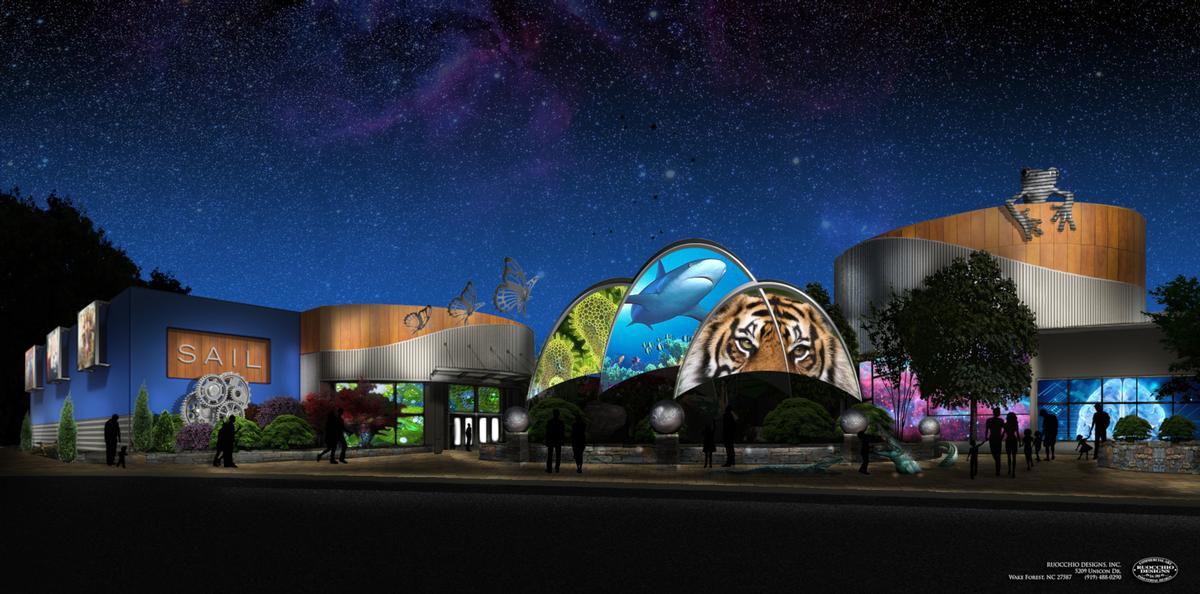 Conceptual design of the renovated plaza at the entrance to Greensboro Science Center