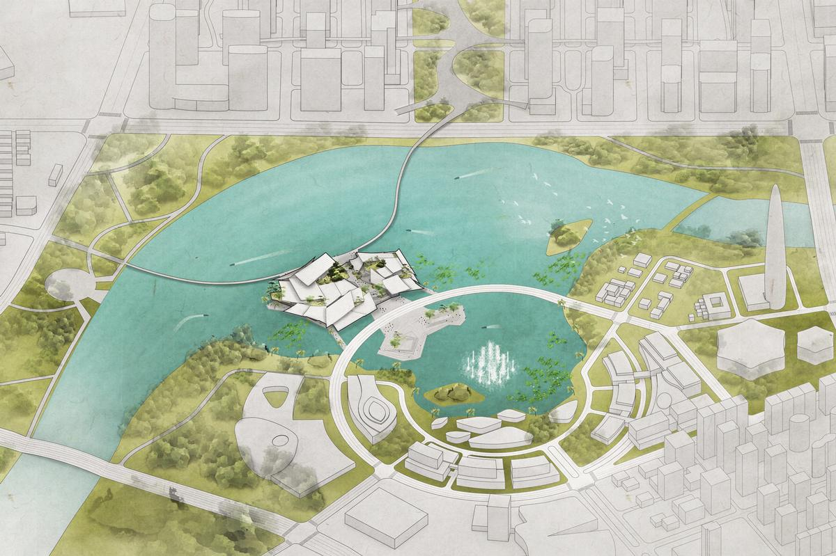 The building will be accessible on all sides via vehicular and pedestrian bridges / Ma Yansong
