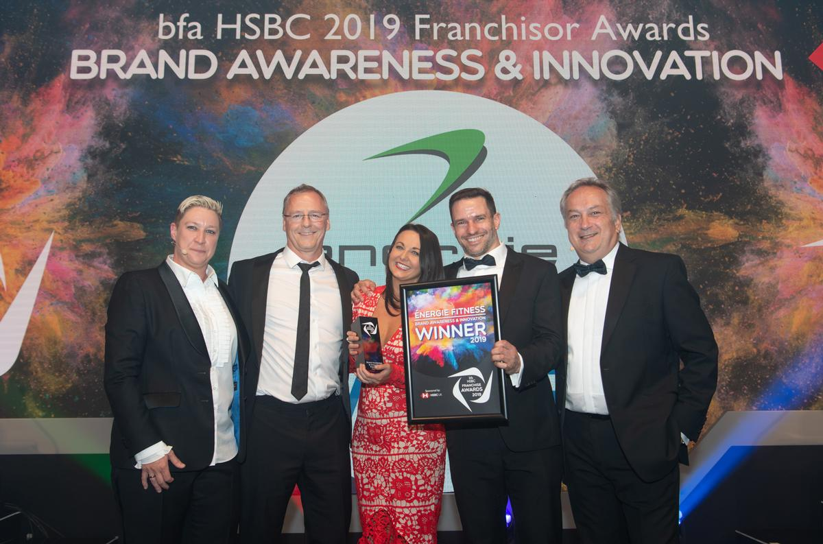 The énergie Fitness team accepts the Brand Awareness & Innovation award at the bfa HSBC Franchisor Awards