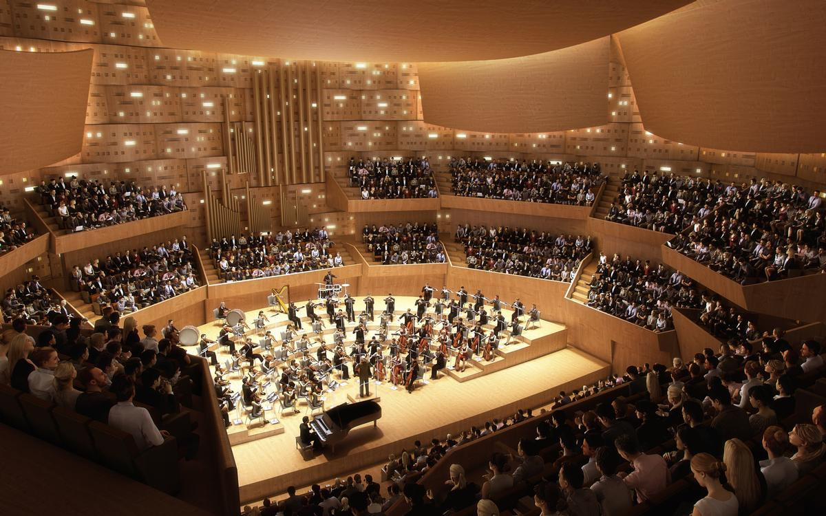 The Janáček Philharmonic Orchestra will perform at the 1,300-seat concert hall / Steven Holl Architects