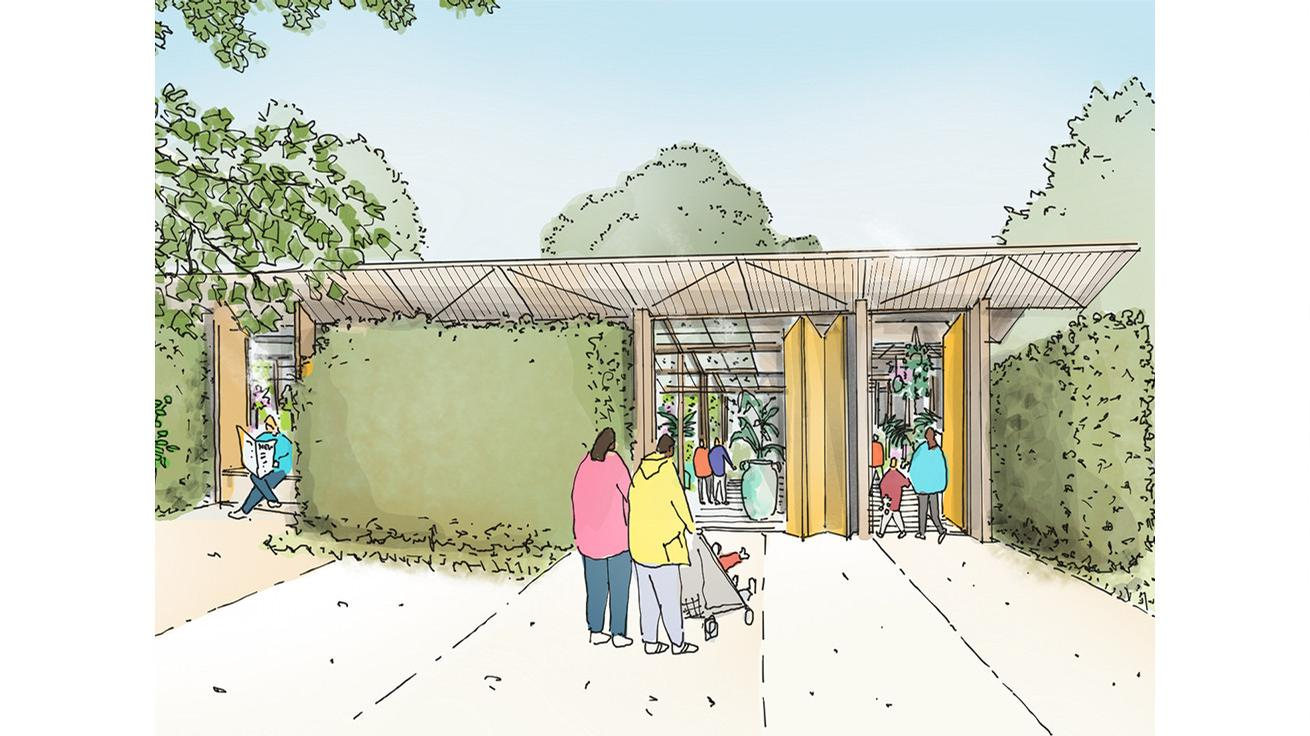 The winter gardens will become a horticultural hub destination at the top of the hill / Studio Egret West