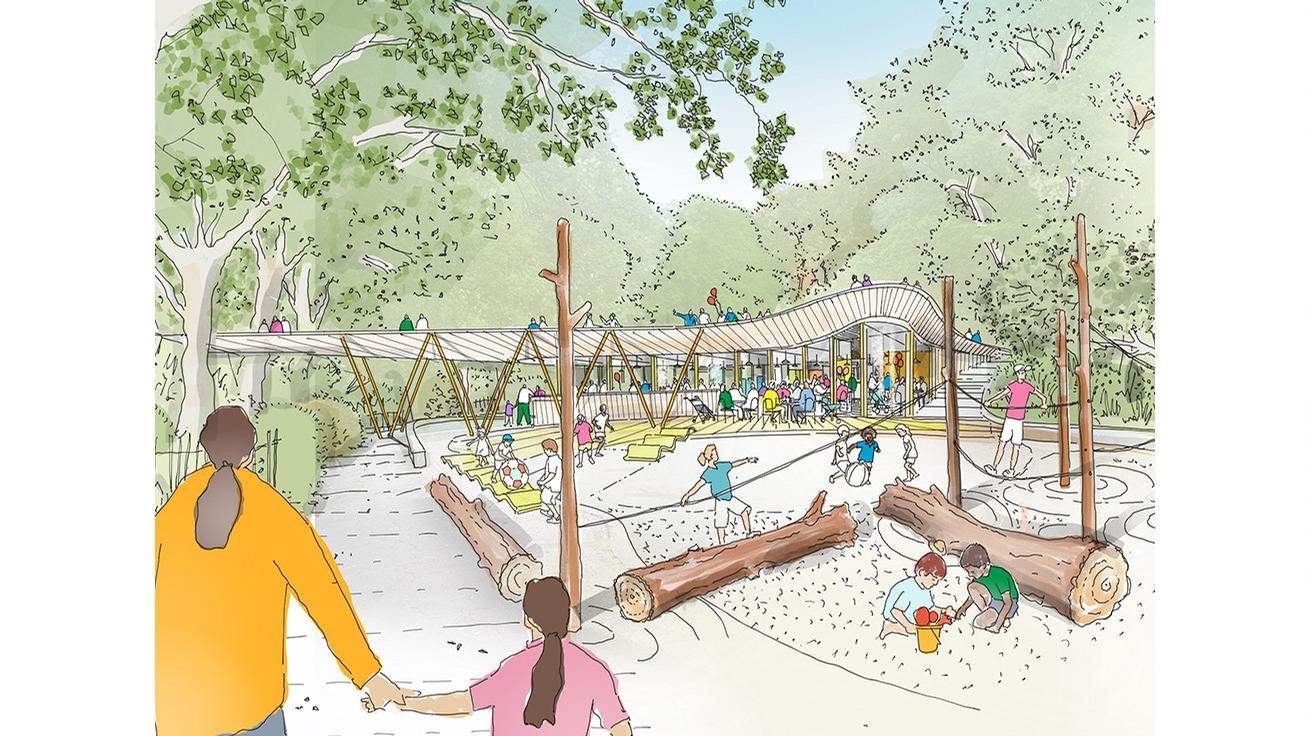 The Kindercafe is a child-friendly, play orientated cafe pavilion that opens onto an old boating lake / Studio Egret West