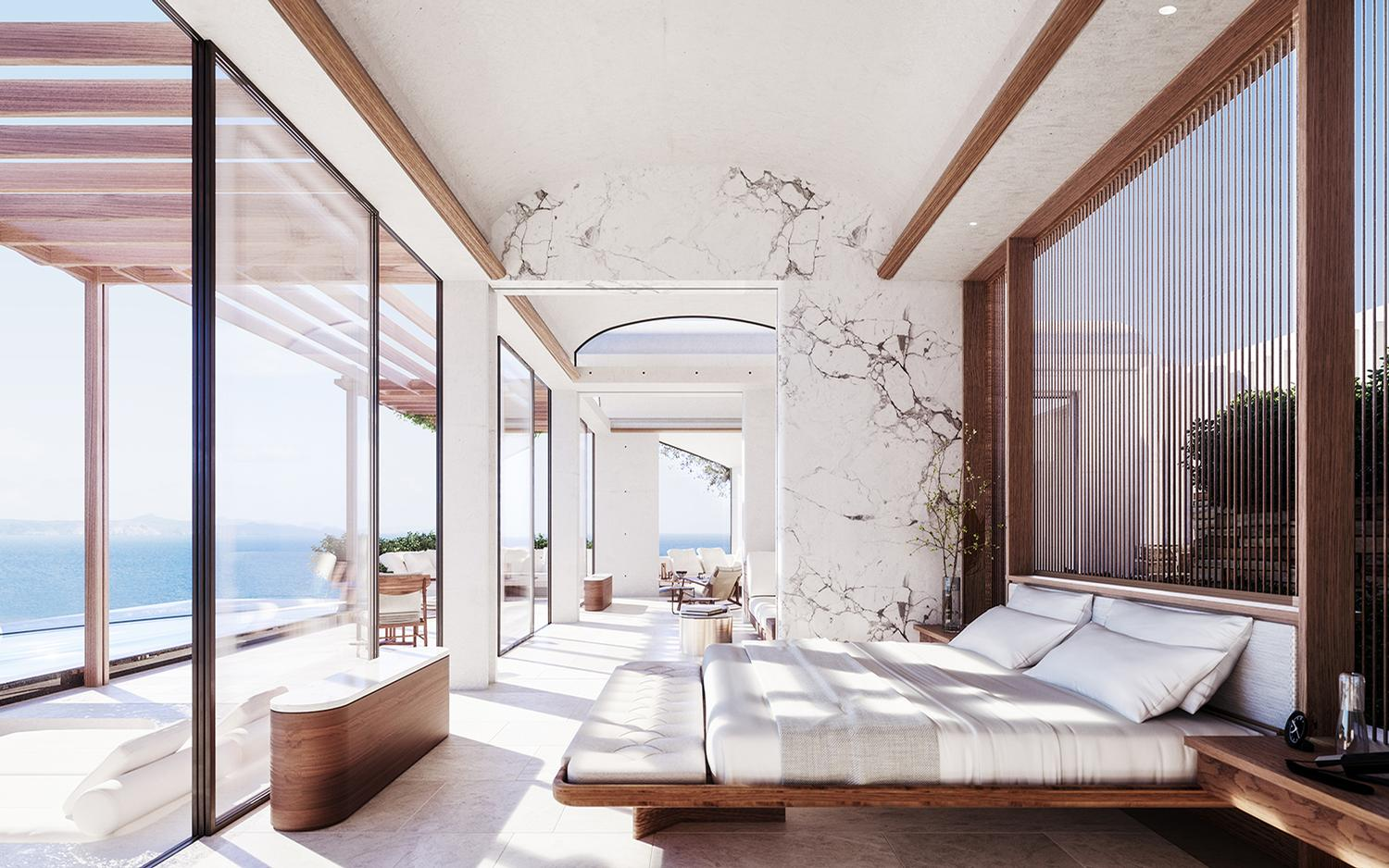Designed with a contemporary Greek elegance by Heah&Co., the resort will celebrate the natural setting of the Cyclades