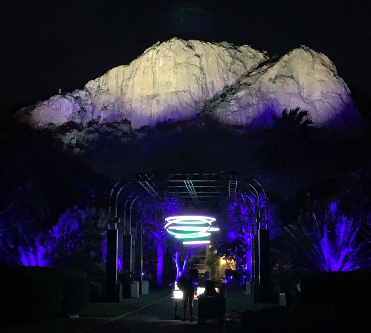 Townsville's Castle Hill and the HALO 'chandelier' in Queen's Gardens