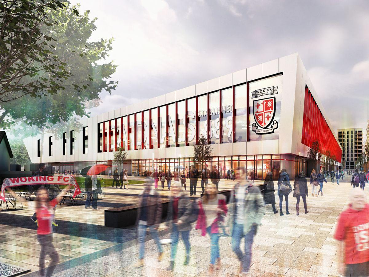 The ambitious plans, which include more than a thousand new houses, are driven by GoldDev Woking Ltd and Woking Football Club