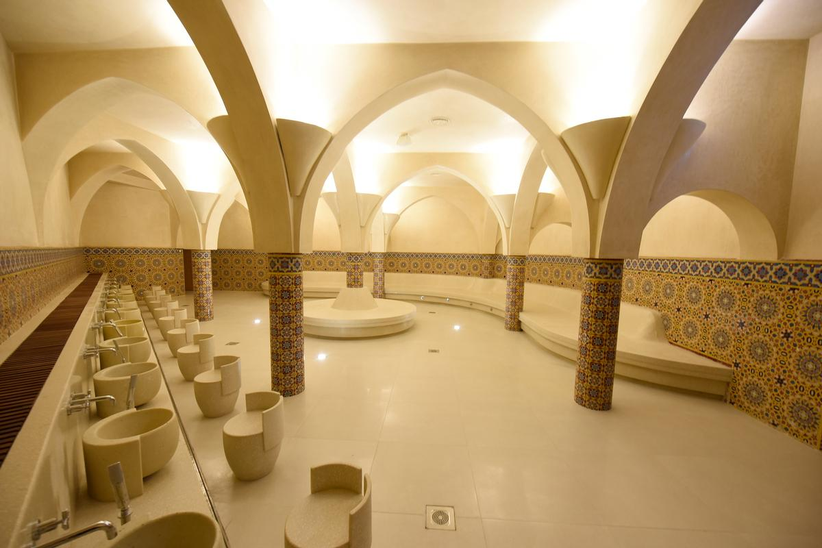 The hammams have been designed with refined materials, elegant forms and colours to be a serene place of healing for the body and mind, and an area for contemplation
