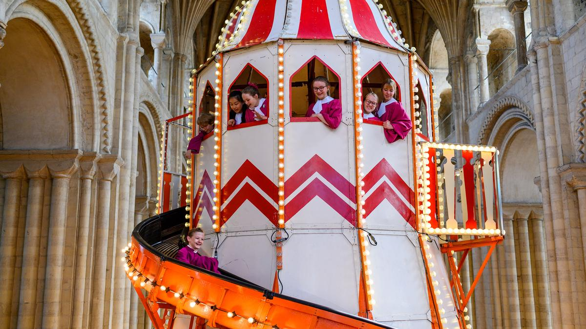 The helter skelter is part of Norwich Cathedral's Seeing It Differently campaign