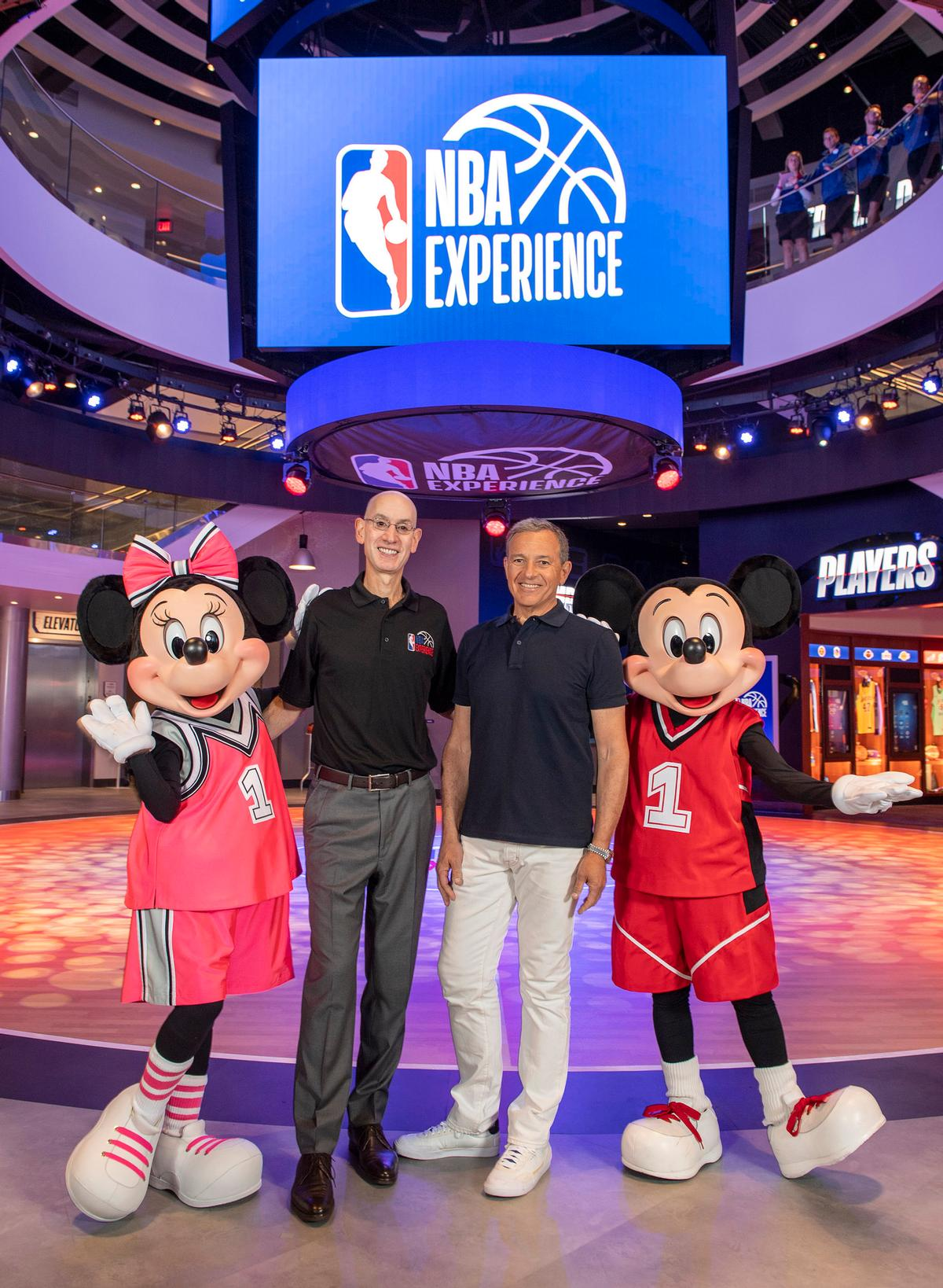Disney CEO Bob Iger (centre right) and NBA commissioner Adam Silver (centre left) teamed up with Mickey and Minnie Mouse at the launch ceremony